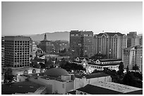 San Jose skyline at dawn. San Jose, California, USA ( black and white)