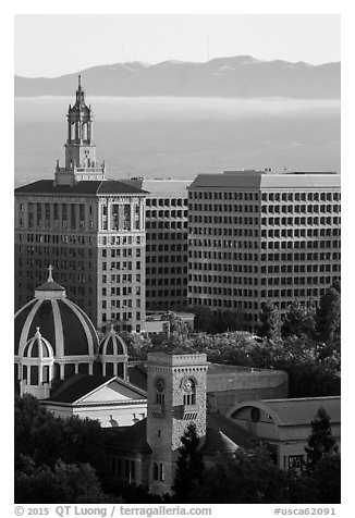 San Jose landmarks: Museum of Art, St Joseph Cathedral, Bank of Italy building. San Jose, California, USA (black and white)
