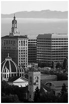 San Jose landmarks: Museum of Art, St Joseph Cathedral, Bank of Italy building. San Jose, California, USA ( black and white)