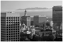 Downtown San Jose with early morning fog over hills. San Jose, California, USA ( black and white)