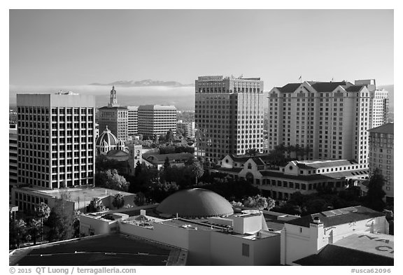 San Jose skyline with early morning fog over hills. San Jose, California, USA (black and white)
