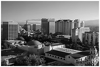 City National Civic, Tech Museum, and city skyline. San Jose, California, USA ( black and white)