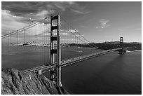 Golden Gate Bridge from Battery Spencer, afternoon. San Francisco, California, USA ( black and white)