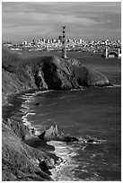 Bonita Cove, Golden Gate Bridge, and city. San Francisco, California, USA ( black and white)