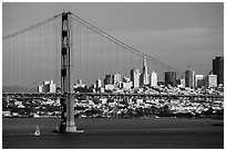 Golden Gate Bridge and San Francisco skyline. San Francisco, California, USA ( black and white)