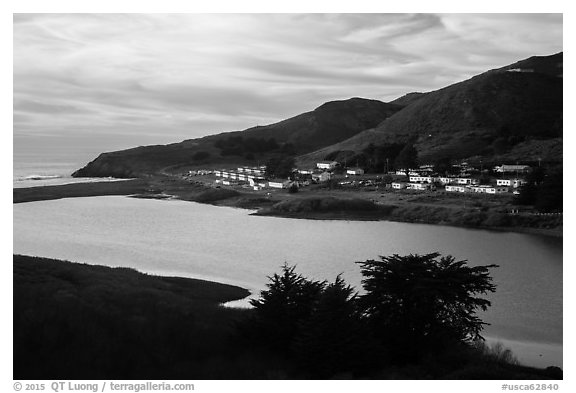 Fort Cronkhite across Rodeo Lagoon. California, USA (black and white)