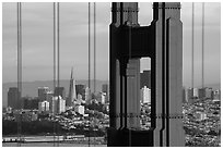 Golden Gate Bridge pillar and San Francisco skyline. San Francisco, California, USA ( black and white)