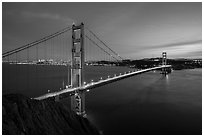 Golden Gate Bridge and San Francisco at dusk. San Francisco, California, USA ( black and white)