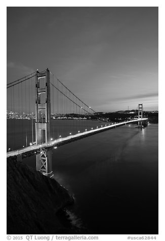 Golden Gate Bridge and city at dusk. San Francisco, California, USA (black and white)