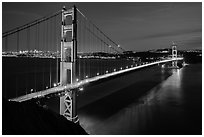 Golden Gate Bridge and San Francisco at night. San Francisco, California, USA ( black and white)
