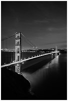 Golden Gate Bridge and city at night. San Francisco, California, USA ( black and white)