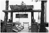 Dory Fishing Fleet fishing cooperative. Newport Beach, Orange County, California, USA ( black and white)