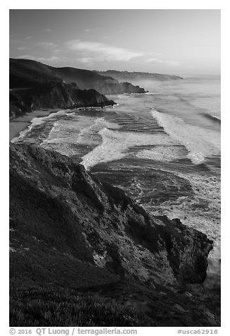 Coastline, Grey Whale Cove, and Montara, sunset. San Mateo County, California, USA (black and white)