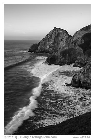 Surf, Devils slide, sunset. San Mateo County, California, USA (black and white)