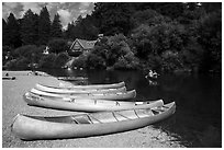 Canoes and Russian River, Monte Rio. California, USA ( black and white)