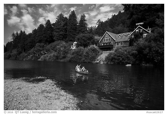 Canoists on Russian River, Monte Rio. California, USA (black and white)