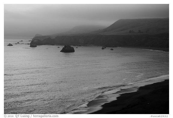 Goat Rock State Beach, sunset. Sonoma Coast, California, USA (black and white)