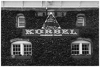 Korbel Champagne Cellars facade with ivy, Guerneville. California, USA ( black and white)