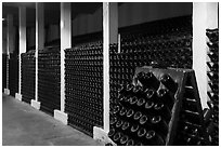 Bottles in cellar, Korbel Champagne Cellars, Guerneville. California, USA ( black and white)