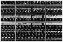 Bottles on rack, Korbel Champagne Cellars, Guerneville. California, USA ( black and white)