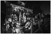 House with Halloween decorations. Petaluma, California, USA ( black and white)