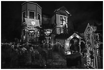 House decorated for Halloween. Petaluma, California, USA ( black and white)