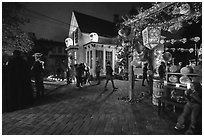 House with Halloween party. Petaluma, California, USA ( black and white)