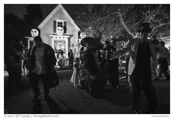Revellers dance for Halloween. Petaluma, California, USA (black and white)