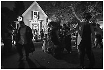 Revellers dance for Halloween. Petaluma, California, USA ( black and white)