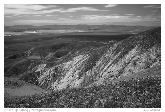 Soda Lake and Carrizo Plain from Temblor Range hills. Carrizo Plain National Monument, California, USA (black and white)