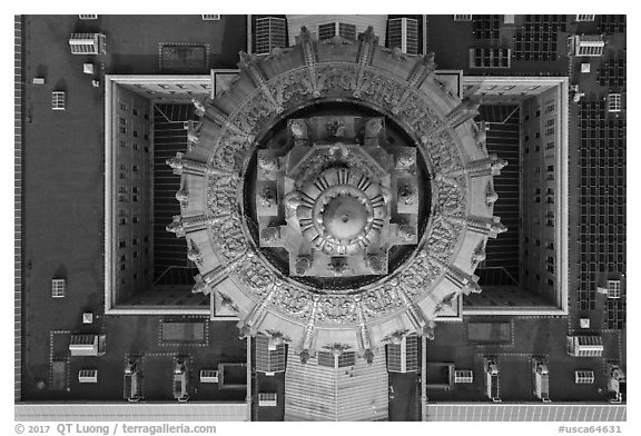 Aerial view of City Hall dome and roof looking down. San Francisco, California, USA (black and white)