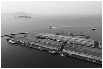 Aerial view of Pier 45 with SS Jeremiah OBrien. San Francisco, California, USA ( black and white)