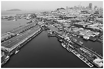 Aerial view of Fishermans Wharf and skyline. San Francisco, California, USA ( black and white)