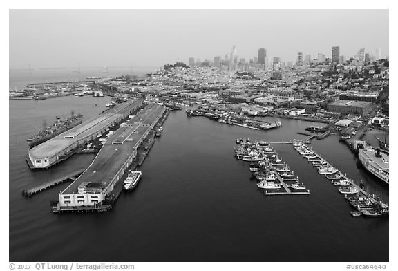 Aerial view of Pier 45 and Hyde Street Pier with skyline. San Francisco, California, USA (black and white)