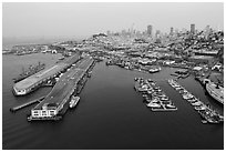 Aerial view of Pier 45 and Hyde Street Pier with skyline. San Francisco, California, USA ( black and white)