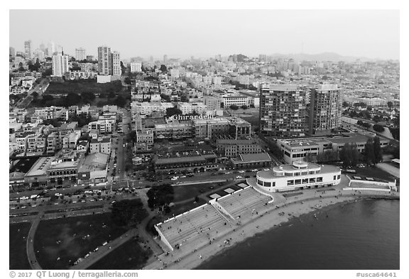 Aerial view of Maritime Museum and Ghirardelli Square. San Francisco, California, USA (black and white)