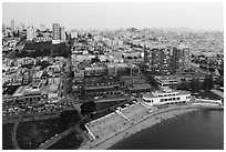 Aerial view of Maritime Museum and Ghirardelli Square. San Francisco, California, USA ( black and white)