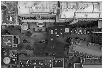 Aerial view of Ghirardelli Square courtyard looking down. San Francisco, California, USA ( black and white)