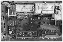 Aerial view of Ghirardelli looking down. San Francisco, California, USA ( black and white)