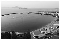 Aerial view of Maritime Museum and Aquatic Park. San Francisco, California, USA ( black and white)