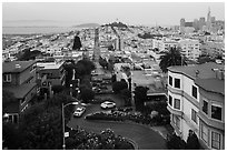 Aerial view of Lombard Street, Coit Tower, and Transamerica Pyramid. San Francisco, California, USA ( black and white)