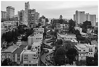 Aerial view of Lombard Street area. San Francisco, California, USA ( black and white)