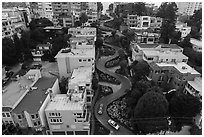 Aerial view of Lombard Street. San Francisco, California, USA ( black and white)