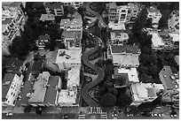 Aerial view of Lombard Street looking down. San Francisco, California, USA ( black and white)
