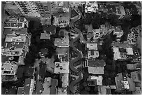 Aerial view of Lombard Street twists looking down. San Francisco, California, USA ( black and white)