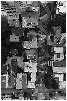 Aerial view of Lombard Street at dusk looking down. San Francisco, California, USA ( black and white)