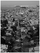 Aerial view of Lombard Street, Coit Tower, and Bay at night. San Francisco, California, USA ( black and white)