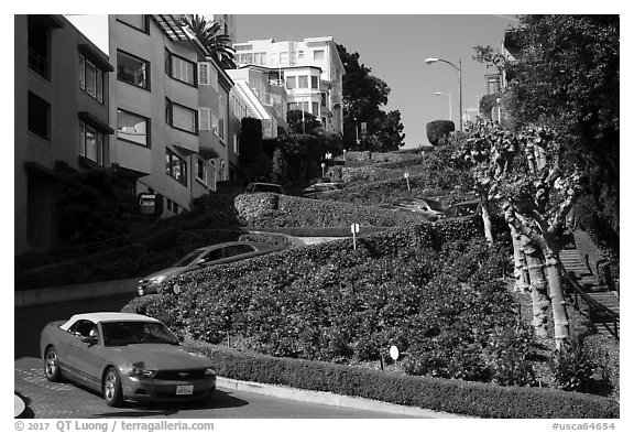 Cars descending Lombard Street. San Francisco, California, USA (black and white)