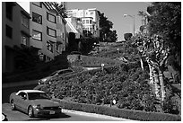 Cars descending Lombard Street. San Francisco, California, USA ( black and white)