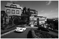 Distinctive houses on Lombard Street. San Francisco, California, USA ( black and white)